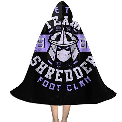 Teenage Mutant Ninja Turtles Shredder Foot Clan Unisex Kids Hooded Cloak Cape Halloween Xmas Party Decoration Role Cosplay Costumes Black