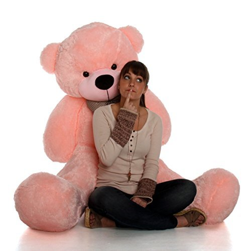 Giant Teddy 5 Foot Life Size Teddy Bear Huge Stuffed Animal Toy Huggable Cute Cuddles Bear (Cotton Candy Pink)