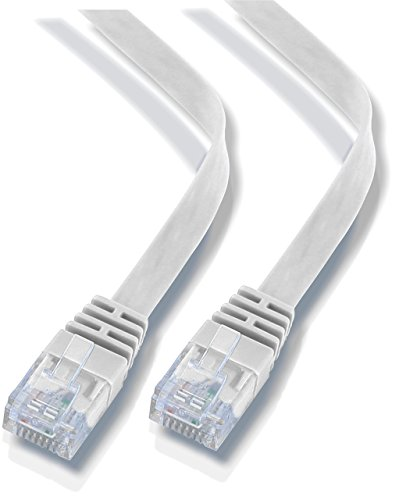 rhinocables ETHERNET CABLE FLAT CAT6 PATCH NETWORK GIGABIT THIN INTERNET RJ45 CAT 6 COMPATIBLE WITH CAT5 CAT5E CAT 5 (1ft 8inch, White)
