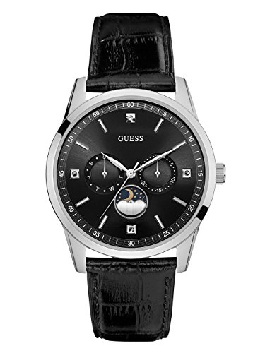 GUESS-Mens-Quartz-Stainless-Steel-and-Leather-Dress-Watch-ColorBlack-Model-U0868G1