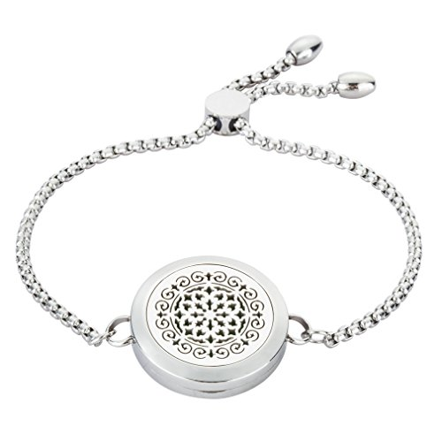 JAOYU Diffuser Bracelet for Women Stainless Steel Locket Charm Aromatherapy Bangle Jewelry with 8 Refill Pads Birthday Gift for Mum Girls Women