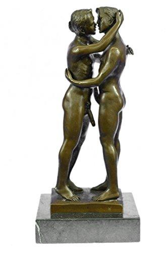 Handmade European Bronze Sculpture Two Gay Men Engaging In A