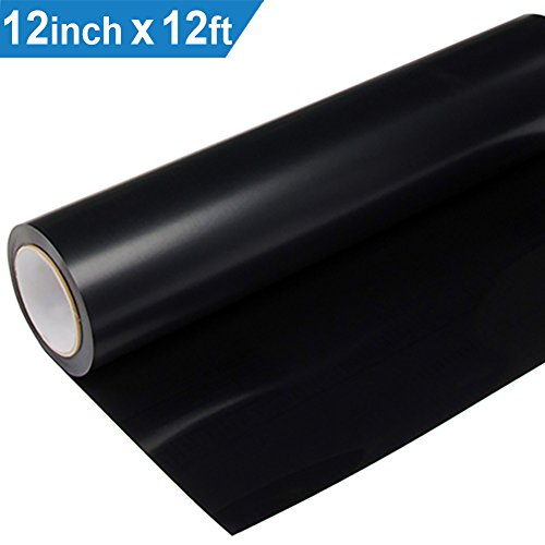 Heat Transfer Vinyl HTV for T-Shirts 12 Inches by 12 Feet Roll (Black)