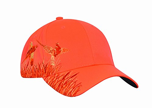- KC Caps Men Hunting Hat Orange Embroidered Baseball Cap Adjustable Back with Velcro Closure,Neon Orange Pheasant