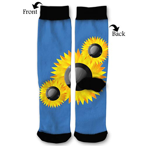 Sunflower Clipart Abstract Socks Funny Fashion Novelty Advanced Moisture Wicking Sport Compression Sock for Man Women