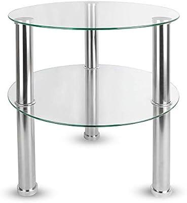 Maison & White Mesa redonda pequeña de vidrio de 2 niveles | Patas ...
