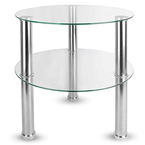 Maison & White Mesa redonda pequeña de vidrio de 2 niveles ...