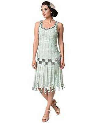 Unique Vintage 1920s Style Mint & Silver Beaded Hart Flapper Dress