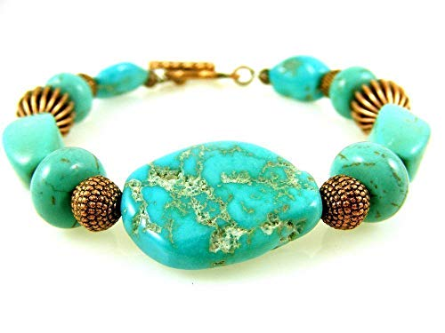 (Turquoise and Copper Bracelet with Toggle Clasp Magnesite Gemstone Beaded Fits 6.5 Inch Wrist)