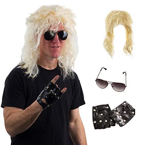 Tigerdoe Rocker Costume - Rocker Wig - Heavy Metal Costume - Punk Accessories - 3 Pc ()