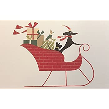12 marcel schurman dogs in red sleigh holiday cards red envelopes benefits - Humane Society Christmas Cards