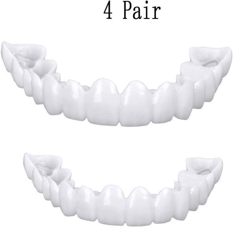 ZNXY 4 Pairs Top and Bottom Denture Fake Teeth Veneer Dental,Veneers Snap in Teeth,Cosmetic Tooth Replacement Kit for Real Teeth, Top Only One Size Fits Most