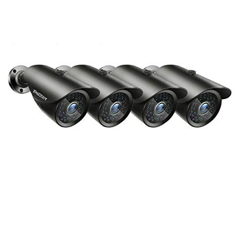 TMEZON 4 Pack OSD Security Bullet Camera HD 1080P 2.0MP 4-in-1 AHD/CVI/TVI/CVBS 3.6mm Lens Waterproof Outdoor Surveillance Camera