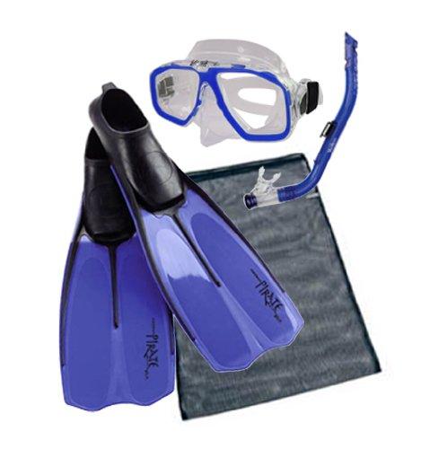 Akona Children's Snorkeling Set Wahoo Jr Mask, Snorkel, Pirate Fins and Mesh Bag Kid's Snorkel Package (Blue, 1.5/2.5)