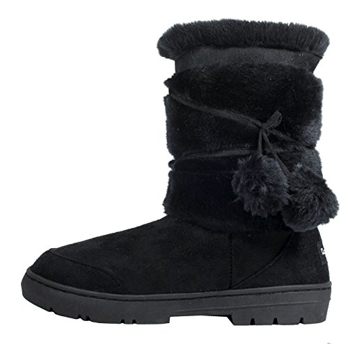 Clpp'li Womens Pom Pom Fully Fur Lined Waterproof Winter Sno