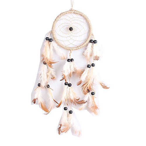 Qingsun Dream Catcher Handmade Circular Net With feathers Hemp Rope Wood Beads Wall Hanging Decoration Decor Ornament Craft Gift
