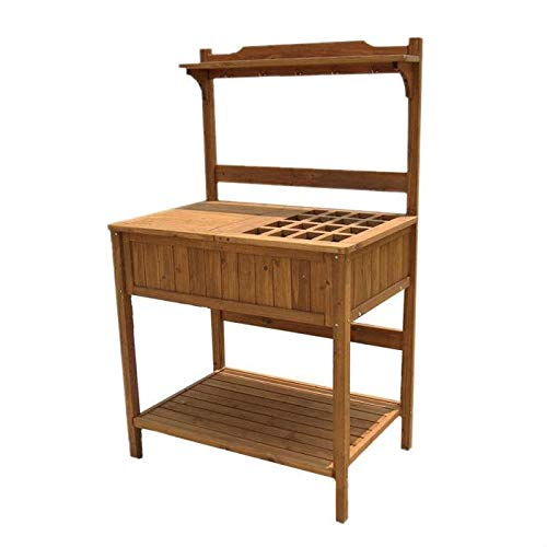 (StarSun Depot Home Garden Outdoor Wooden Potting Bench with Lattice Table Top)