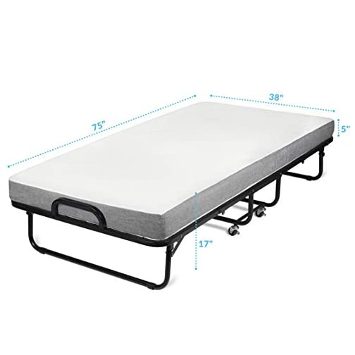 """Milliard Diplomat Folding Bed – Twin Size – with Luxurious Memory Foam Mattress and a Super Strong Sturdy Frame – 75"""" x…"""
