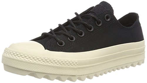Converse Womens CTAS Lift Ripple Ox Canvas Trainers Black Natural