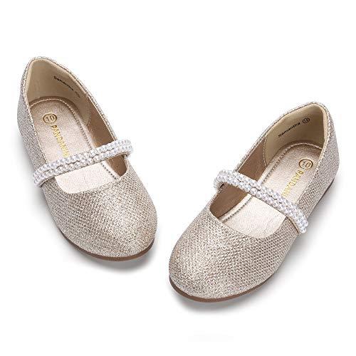PANDANINJIA Toddler Girls Dress Shoe Flower Girl Wedding Party School Uniform Ballet Mary Jane Slip On Flats Shoes Gold Glitter
