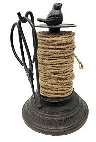 Miller Horticultural Cast Iron Bird Twine Holder Dispenser with Jute Spool and Scissors, 8 Inches Tall
