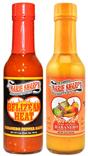 Marie Sharp's BELIZEAN HEAT and PURE MANGO Habanero Pepper Sauce 5oz Combo (Pack of 2)