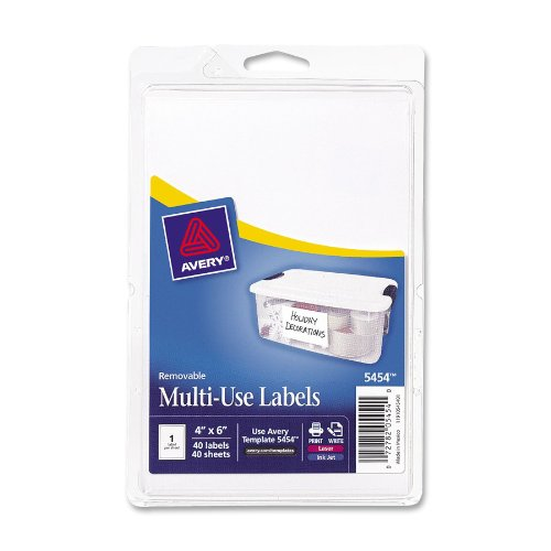 Avery White Removable Print or Write Labels, 6 Inches x 4 In
