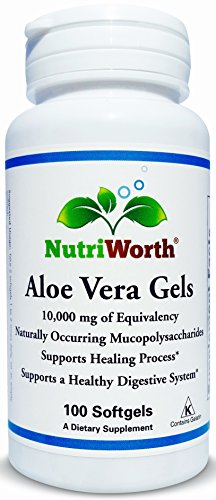 NutriWorth Organic Aloe Vera Gels, 10,000mg, Kosher, 200:1 Concentrate, 100 Softgels, - Aloe Gel Capsules Vera