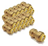 | (Pack of 50) 1/2 inch x 1/2 inch Coupling Connect Fittings, Lead Free Brass