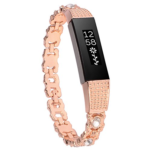 Wishteta Replacement Accessory Metal Watch Bands for Fitbit Alta/Fitbit Alta HR (Rose gold Metal-18, 5.5