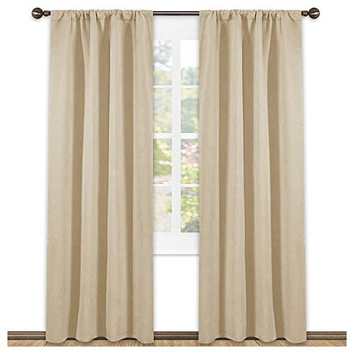 NICETOWN Kitchen Room Darkening Curtains - Panel Home Fashion Thermal Insulated Solid Rod Pocket Curtains for Window(Cream Beige,1 Pair,42 Inch Wide by 84 Inch (Beige Window Curtain)