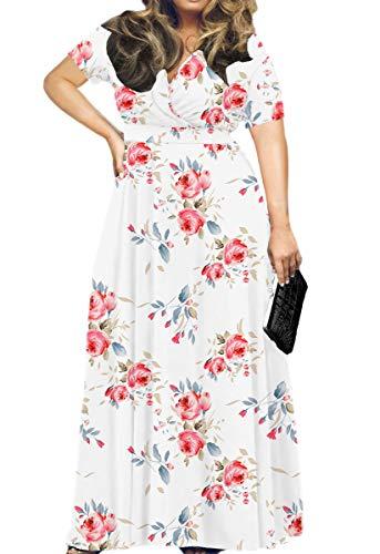 Floral Maternity Jersey - HWOKEFEIYU Women Short Sleeve Loose Plain Casual Plus Size Long Maxi Dress(Floral White,2XL)