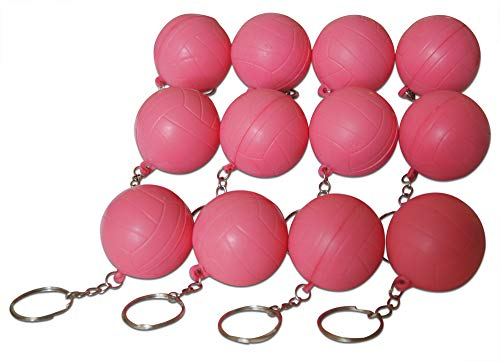 Novel Merk Pink Volleyball 12-Piece Keychains for Party Favors & School Carnival -