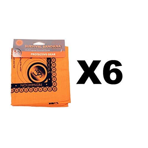 (Ultimate Survival Technologies Bandana Orange Kerchief w/Survival Tips (6-Pack))