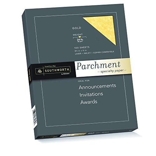 Gold Parchment Paper - Southworth Fine Parchment Paper, 24 lb, Copper, 100 Sheet Count (P894CK)