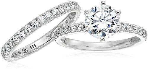 Platinum Plated Sterling Silver Swarovski Zirconia Ring Set