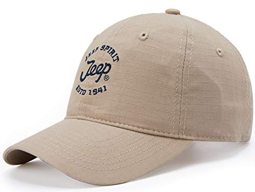 Jeep Unisex Solid Color Adjustable Cutton Military Cap Outdoor Army Sunhat (Beige)