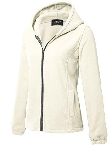 JayJay Women Ultra Soft Fleece Long Sleeve Hoodie Jacket,Beige,M by JayJay Active (Image #2)
