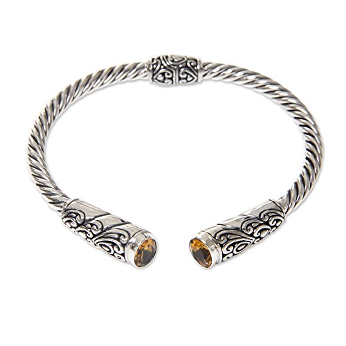 NOVICA Citrine .925 Sterling Silver Twist Hinged Cuff Bracelet, 6.25 , Beacon of Light