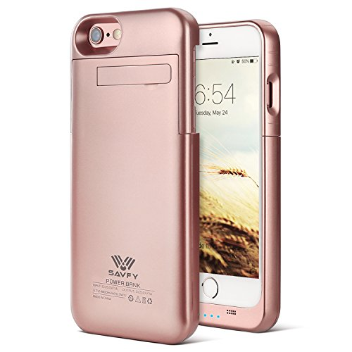 SAVFY iPhone 7 Battery Case iPhone 6 6s Charger Case 3200mAh iPhone Portable Charger Slim Rechargeable Extended Battery Charging Pack Power Bank Case with Kickstand for iPhone 7 / 6S 4.7 inch, Rose Gold