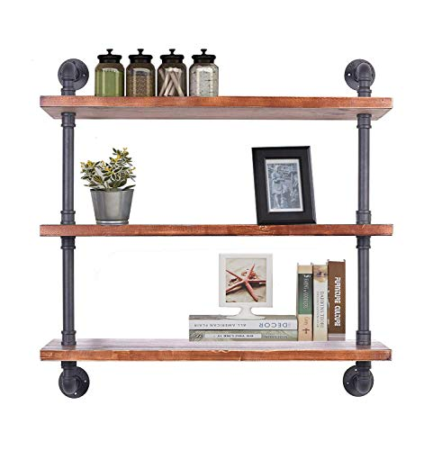 - Diwhy Industrial Pipe Shelving Bookshelf Rustic Modern Wood Ladder Storage Shelf 3 Tiers Retro Wall Mount Pipe Dia 32mm Design DIY Shelving (Black, L 36