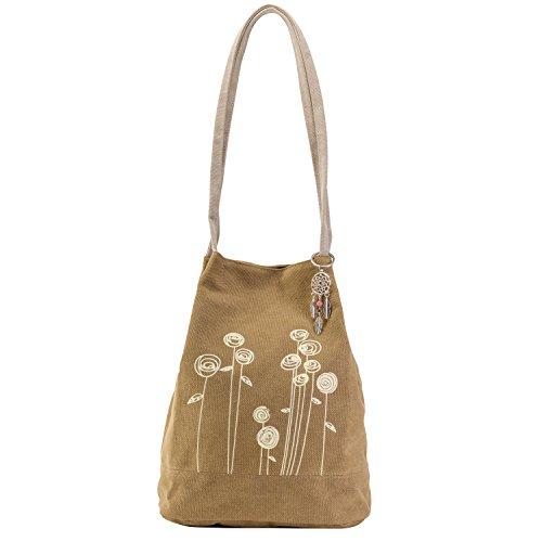 Cute Boho Purse Bag - Bohemian Style Flower Hippie Handbag - Small Brown Gypsy Canvas Tote