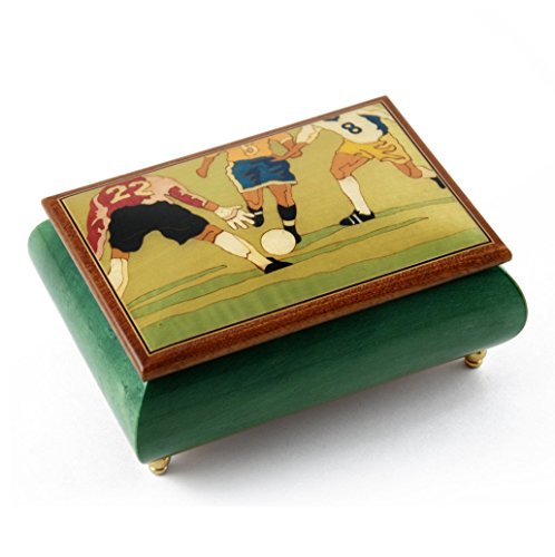 Sports Theme Wood Inlay: Soccer - Collectible 30 Note Musical Jewelry Box - Scarborough Fair by MusicBoxAttic