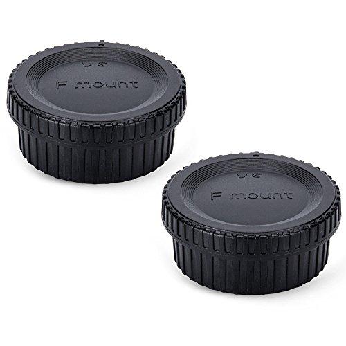 2 Pack JJC Body Cap and Rear Lens Cap Cover Kit for Nikon D7000 D7100 D7200 D7500 D5100 D5200 D5300 D5500 D5600 D3500 D3400 D3300 D3200 D750 D610 D500 D850 - Lens Cap Rear Nikon