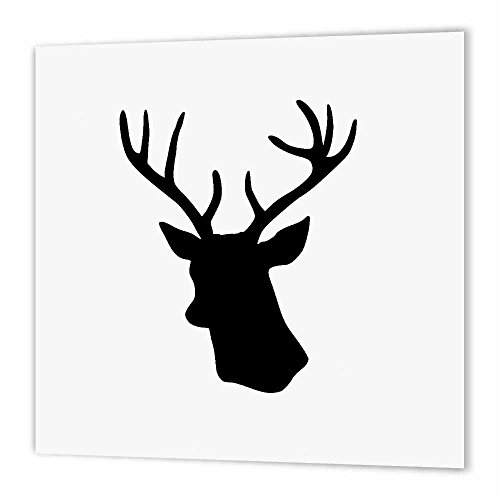 - 3dRose Black Deer Head Silhouette Modern stag with Antlers Shadow-Iron On Heat Transfer, 6 by 6-inch, for White Material (ht_179700_2)