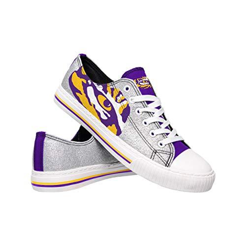 (FOCO NCAA LSU Tigers Womens Glitter Low Top Canvas ShoesGlitter Low Top Canvas Shoes, Team Color, 6/S)