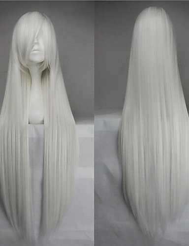 Beauty Fashion Wigs High Temperature Fiber Long Straight White Cosplay Costume Wig Side Bang (Harley Quinn Costume Commission)