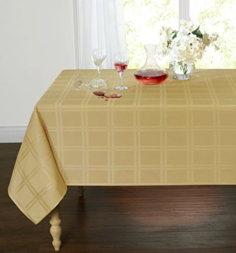 Spill Proof/Stain Resistant Plaid Tartan Fabric Tablecloth by GoodGram - Assorted Colors & Sizes (54 in. W x 72 in. L Oblong, Gold)