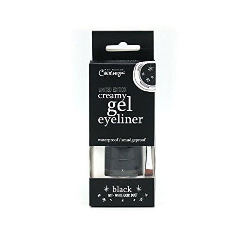 Cherimoya Creamy Waterproof & Smudge proof Gel Eyeliner, Black with Gold Dust, 0.17 oz