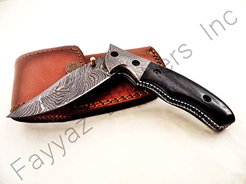 Folder Bolster Double (FAYYAZ BROTHERS Handmade Damascus Steel Pocket Folding Knife/Pocket Knife AA-15198 (Dark Grey Colored Bone))